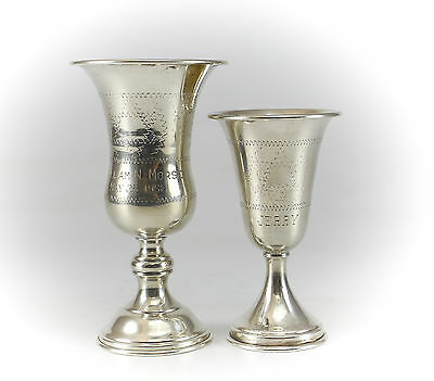 Pair Sterling Silver Kiddush Goblet Cups, 19th Century Judaica Hand Chased