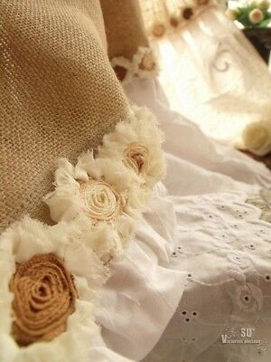 Eyelet Ruffles! SHABBY Rustic Chic Burlap SHOWER Curtain ROSETTE White Farmhouse