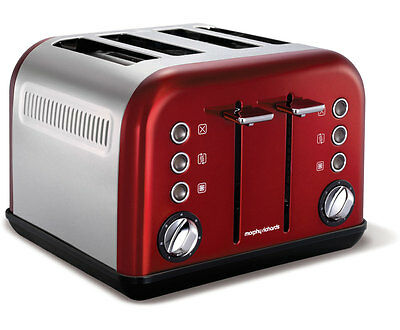 Morphy Richards Accents 4 Slice Wide Slot Toaster In Red Variable Width 242004