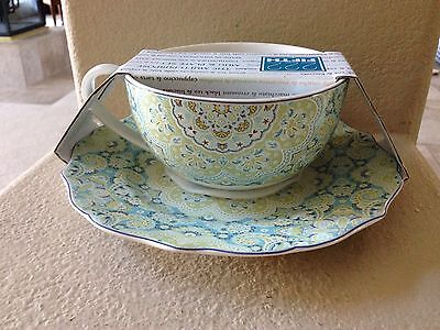 222 Fifth Lyria Teal Oversized Coffee Soup mug Cup and plate set
