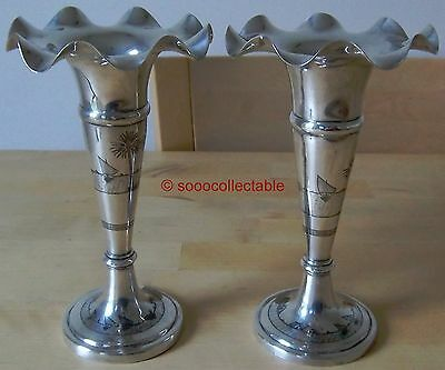 pair of IRAQ flared NIELLO STERLING SILVER VASES middle eastern