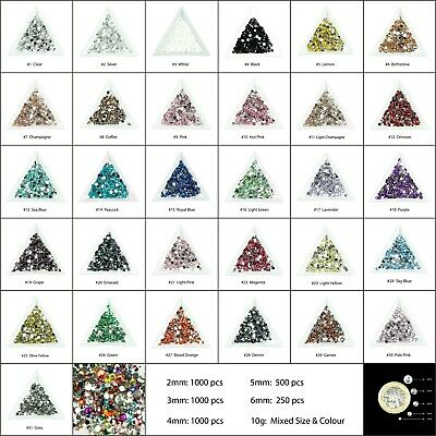 1000 Choose Colour Crystal Flat Back Rhinestones Gems Phone Shoe Bling