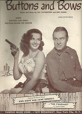 Buttons and Bows 1948 Film The Paleface Bob Hope, Jane Russell Sheet Music