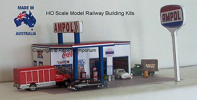 HO Scale Ampol Garage Petrol Station Model Railway Building Kit - APS1