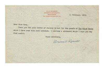 Bertrand Russell British Philosopher Autograph Note/Letter!  Authentic! Scarce!