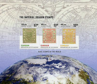 Canouan Grenadines St Vincent 2014 MNH Rare Stamps World 3v M/S Imperial Dragon