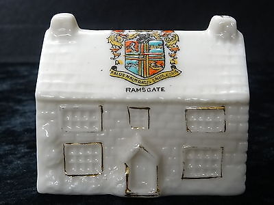China model of a cottage with Ramsgate crest