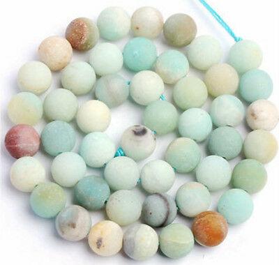 Matt Frosted Natural Semi-Precious Amazonite Mixed Colours Round Gemstone Beads