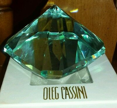 NIB OLEG CASSINI ELIZABETH EMERALD CUT DIAMOND TURQUOISE ...