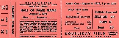 1976 BASEBALL HALL OF FAME GAME FULL TICKET STUB NEW YORK METS vs. MILW BREWERS