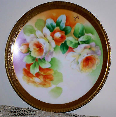 Antique Limoges France Hand Painted Roses Plate Artist Signed Gold Trim, 8.75""
