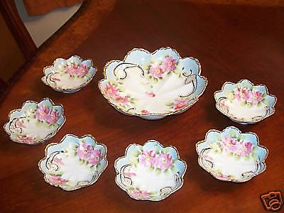 Antique Japan Hand Painted 7 Piece Berry Bowl Set Large Bowl 8 5/8, Small 2 3/8
