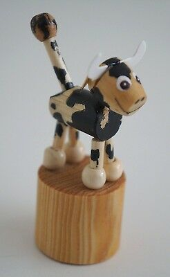 """Beautiful Handmade Wood """"Cow"""" Push Button / Mini Puppet Moving figure / Toy"""