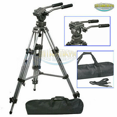 PRO Video Heavy Duty Tripod With Fluid Pan Head for Canon Nikon DSLR Camcorder