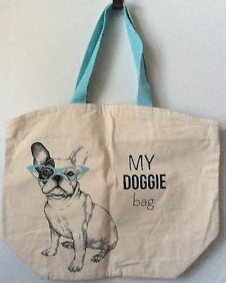NWT Large Canvas Tote Bag Boston Terrier Dog My Doggie Bag Blue Sunglasses