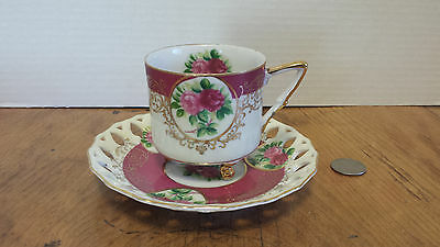 L M Royal Halsey Very Fine China Tea cup & Saucer Footed w/gold leaf scalloped