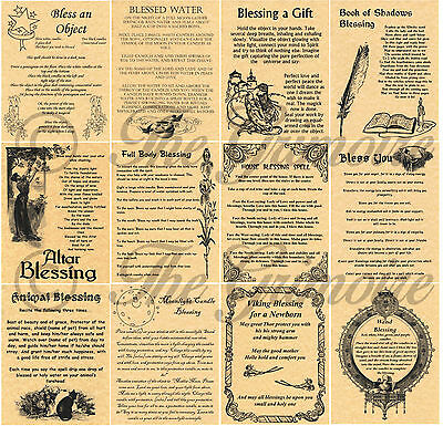 Lot 12 Blessing Spells, Book of Shadows Pages, Real Witchcraft Spells, Wicca