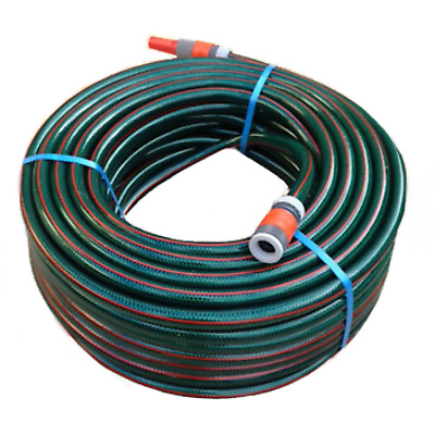 "50M Garden Watering Hose 18mm - 3/4"" Plastic Fittings & Nozzle 8/10 Kink-Free"