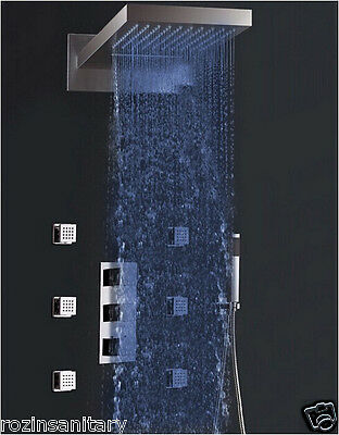 LED Light Thermostatic Waterfall Rain Shower Faucet Set with 6pcs Massage Jets