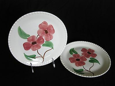 Two Vintage Southern Potteries Blue Ridge Twin Flowers Candlewick Plates
