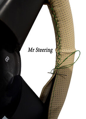 For Citroen Xsara Beige Perforated Leather Steering Wheel Cover Green Stitching