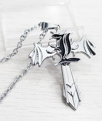Anime Cosplay Letter L Marks Silver Cross Wing Death Note Pendant Necklace