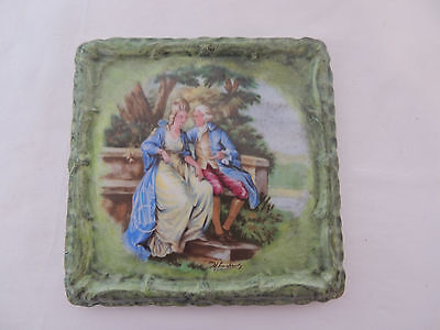 tea tile trivet square green with 2 victorian people Germany Bavatian china