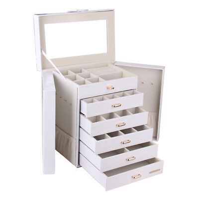 Mirror Extra Large Jewellery Boxes Quality Leather Girls Gift Rings Storage Box