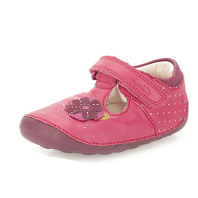Clarks Girls Little Poppy Berry Pink Leather T-Bar First Shoe Cruisers