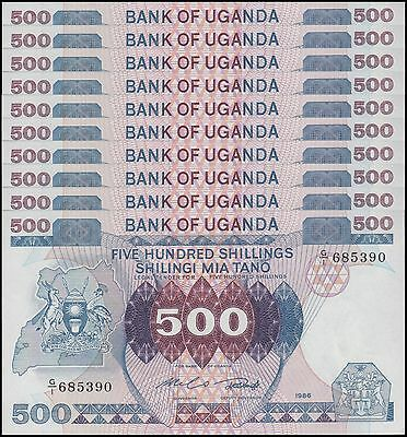 Uganda 500 Shillings X 10 Pieces (PCS), 1986,  P-25, UNC