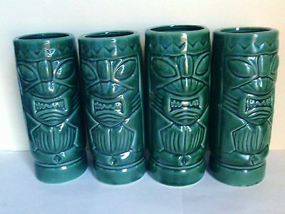 Set of 4 Heavy Green Ceramic DW113 Tikis in Mint Condition