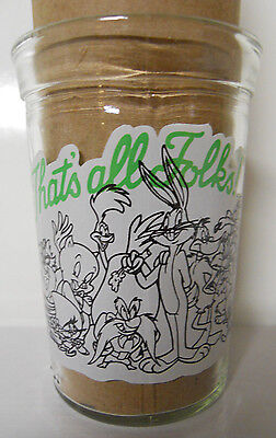 1994 Welch's Looney Tunes Straight Jelly Jar Glass-#12-That's All Folks
