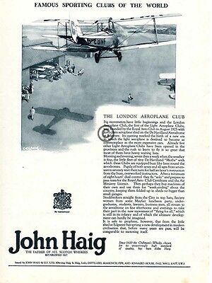 1926 John Haig Scotch Whisky AD London Royal Aeroplane Club DeHavilland