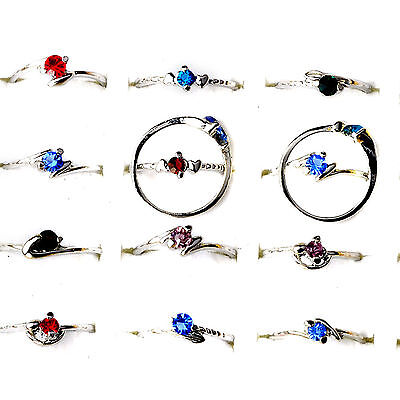 30Pcs Wholesale Lots Fashion Jewelry Crystal CZ Rhinestone Silver Plate Rings GR