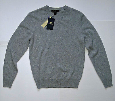 NWT $200 Daniel Bishop Heritage Collection Gray 2 Ply Cashmere Sweater Size S