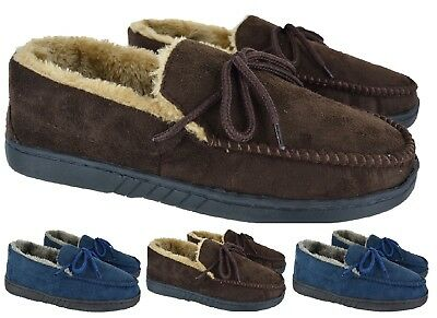 Mens Moccasin Real Leather Suede Gents Warm Winter Flat Slippers Size Uk 6-12