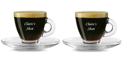 2 Personalised 80ml Espresso Coffee Cup Glass and Saucer, Any Message Engraved