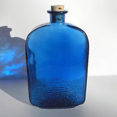 Beautiful Cobalt Blue Glass Bottle Flask with Cork, Embossed Design, Rich Color!