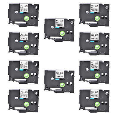 10PK Black on White Label Tape For Brother P-Touch PT-2730 TZe-231 TZ231 12mm*8m