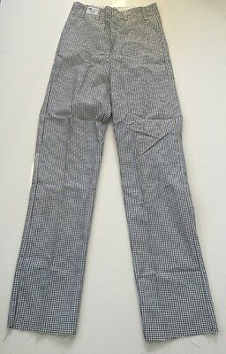 Chef Pants Small Size 28 NEW Black and White Checkered Pattern