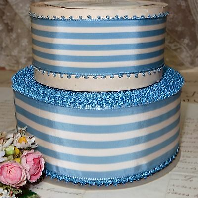 "1y (50y AVAIL) 1 3/4"" BLUE WHITE STRIPE PICOT RIBBON FRENCH LADY HAT VTG ANTIQUE"