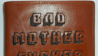 SECOND TAN  LEATHER EMBROIDERED PULP FICTION (BAD MOTHER FxxxER) WALLET
