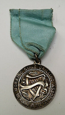 1938 Irish Silver  'Dublin Working Girls Drilling Association' Medal Badge Harp