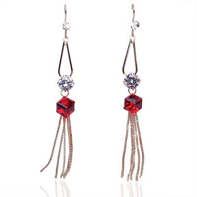 Chic 18K Gold Plated Austrian Crystal Red Cube Long Dangle Earrings Jewelry E467