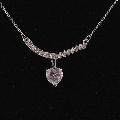 Stylish Women Silver FillIed Chic Austrian Crystal Pendant Chain Necklace B898