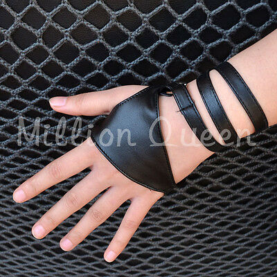 Fashion Half Finger PU Gloves Leather Ladys Fingerless Driving Dance Show Pole