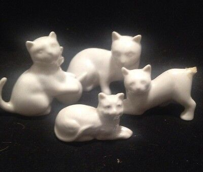 """Vintage Small Ceramic Cat Figurines - White - Lot of 4 - 3"""" Largest - CUTE!!"""