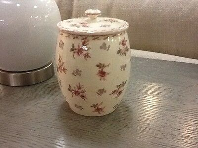 Vintage German Large Canister-Roses-Red/Green/Floral-Great W/Red Transferware