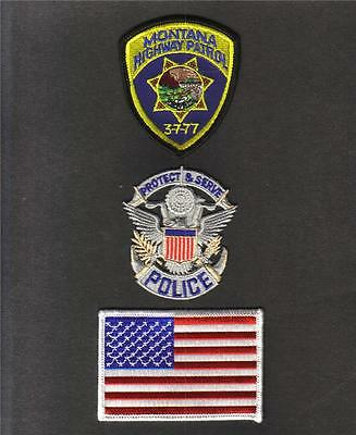 MONTANA POLICE Highway PATROL USA FLAG Sew Iron On NOVELTY PATCH SET 3 Pcs New