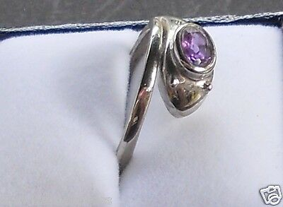 Snake Ring with Amethyst Crystal Stone  (brand new)